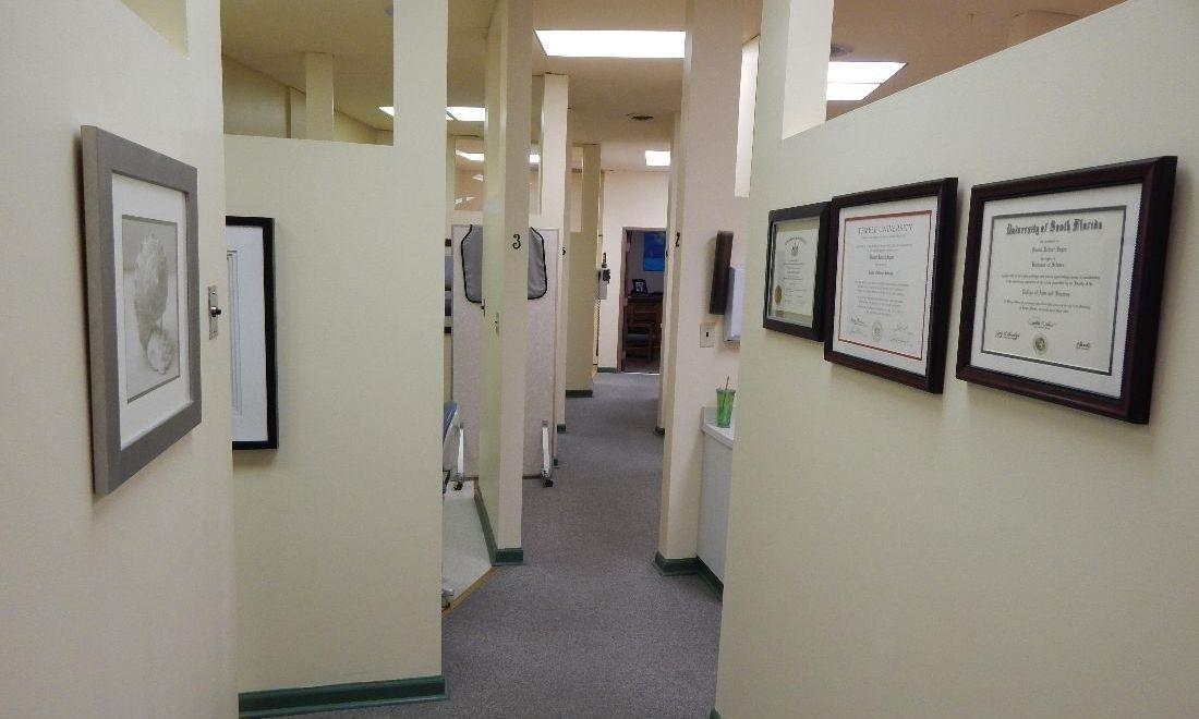 Hallway of treatment rooms at dentist office in Aston PA